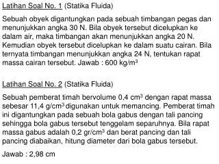 Latihan Soal No. 1 (Statika Fluida)