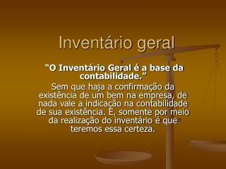 Inventário geral