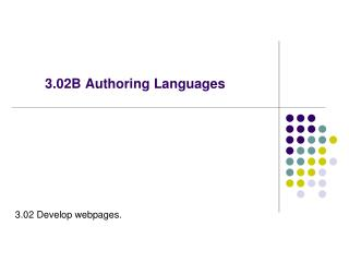 3.02B Authoring Languages