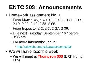 ENTC 303: Announcements