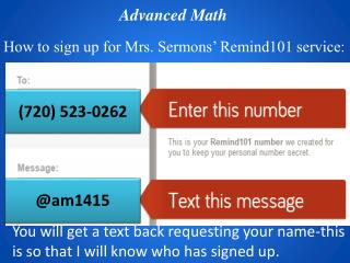 How to sign up for Mrs. Sermons' Remind101 service: