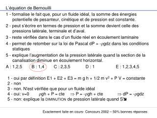 L'équation de Bernouilli