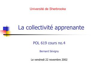 La collectivité apprenante