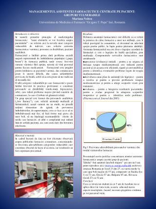 MANAGEMENTUL ASISTENTEI FARMACEUTICE CENTRATE PE PACIENT: GRUPURI VULNERABILE Mariana Voitcu