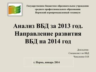 Анализ ВБД за 2013 год. Направление развития ВБД на 2014 год