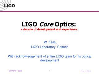 LIGO Core Optics: a decade of development and experience