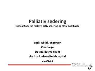 Palliativ sedering Grænsefladerne mellem aktiv sedering og aktiv dødshjælp