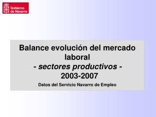 Evolución Paro Registrado – período 2003/2007