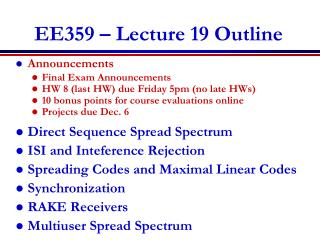 EE359 – Lecture  19 Outline