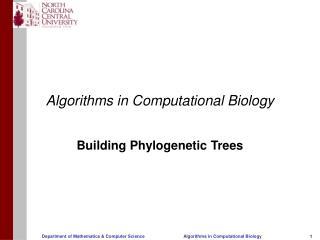 Algorithms in Computational Biology