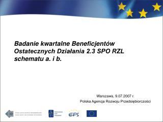 Badanie kwartalne Beneficjentów Ostatecznych Działania 2.3 SPO RZL schematu a. i b.