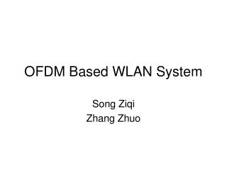 OFDM Based WLAN System