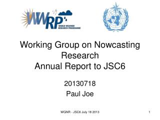 Working Group on Nowcasting Research Annual Report to JSC6