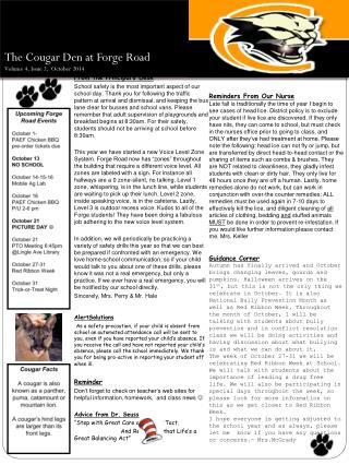 The Cougar Den at Forge Road Volume 4, Issue 2, October 2014