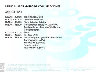 AGENDA LABORATORIO DE COMUNICACIONES