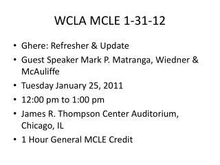 WCLA MCLE 1-31-12