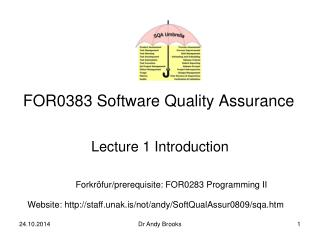 FOR0383 Software Quality Assurance