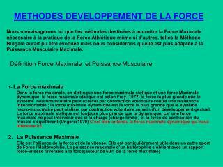 METHODES DEVELOPPEMENT DE LA FORCE