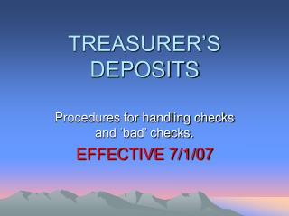 TREASURER'S DEPOSITS