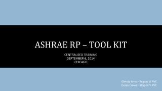 ASHRAE RP – TOOL KIT