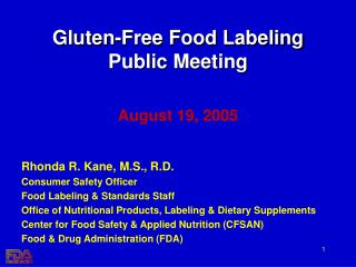 Gluten-Free Food Labeling Public Meeting
