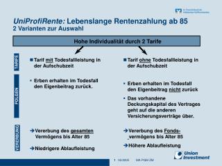 UniProfiRente: Lebenslange Rentenzahlung ab 85 2 Varianten zur Auswahl