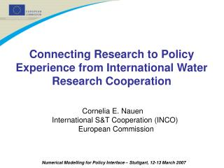 Connecting Research to Policy Experience from International Water Research Cooperation