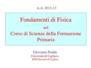 Fondamenti di Fisica nel Corso di Scienze della Formazione Primaria