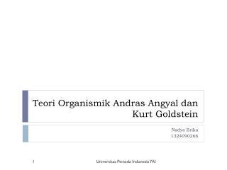 Teori Organismik Andras Angyal dan Kurt Goldstein