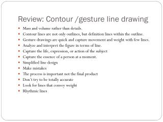 Review: Contour /gesture line drawing