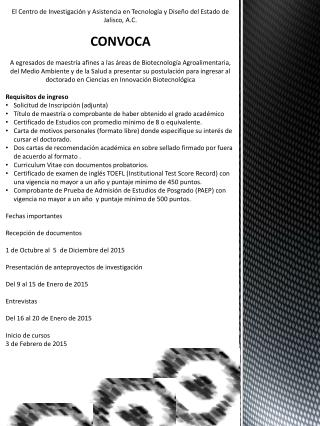 El Centro de Investigación y Asistencia en Tecnología y Diseño del Estado de Jalisco, A.C. CONVOCA