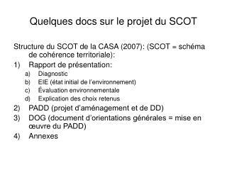 Quelques docs sur le projet du SCOT