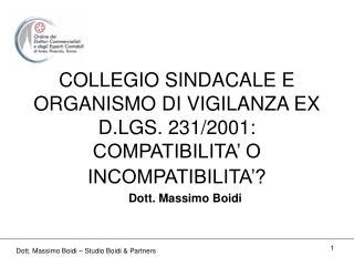 COLLEGIO SINDACALE E ORGANISMO DI VIGILANZA EX D.LGS. 231/2001: COMPATIBILITA' O INCOMPATIBILITA'?