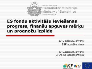 ES fondu aktivitāšu ieviešanas progress, finanšu apguves mērķu un prognožu izpilde