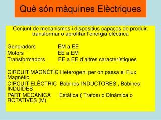 Què són màquines Elèctriques