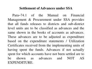 Settlement of Advances under SSA