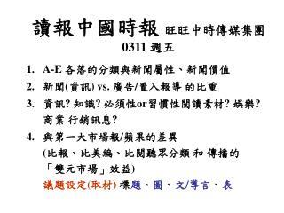 讀報中國時報 旺旺中時傳媒集團 0311 週五