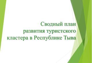 Сводный план развития туристского кластера в Республике Тыва