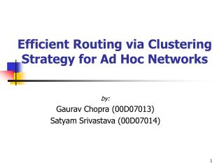 Efficient Routing via Clustering Strategy for Ad Hoc Networks