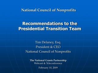 Recommendations to the  Presidential Transition Team