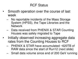 RCF Status