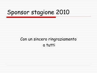Sponsor stagione 2010