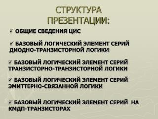 СТРУКТУРА ПРЕЗЕНТАЦИИ: