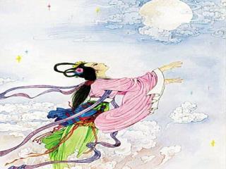 嫦娥吃了仙药,突然飘飘悠悠地飞了起来。她飞出了窗子,飞过了洒满银辉的郊野,越飞越高。碧蓝碧蓝的夜空挂着一轮明月,嫦娥一直朝着月亮飞去。
