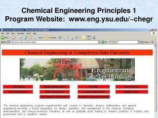 Chemical Engineering Principles 1 Program Website: eng.ysu/~chegr
