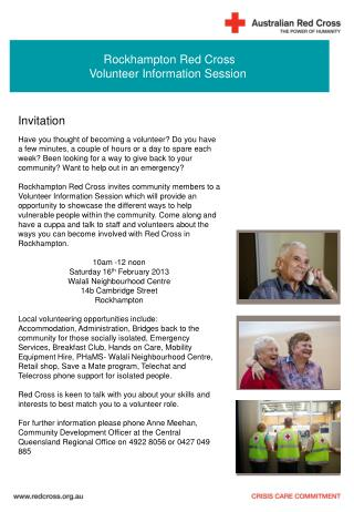 Rockhampton Red Cross Volunteer Information Session