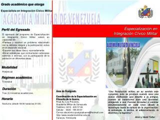 Grado académico que otorga Especialista en Integración Cívico Militar