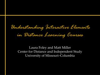 Understanding Interactive Elements in Distance Learning Courses