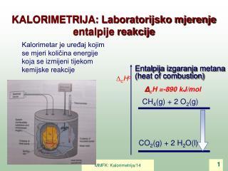 Entalpija izgaranja metana (heat of combustion)