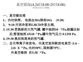 真空状况 (4,24 日 8:00-25 日 8:00) , 李生发 ( 白天 ) 王小明 ( 晚 )